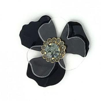 Fiore in metallo e plexi con strass centrale 50 mm