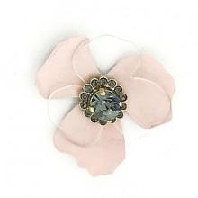 Fiore piccolo in metallo in plexi e pietra centrale con strass