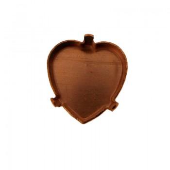 Castone tedesco a cuore mm 16x16 c/griffe in ottone grezzo