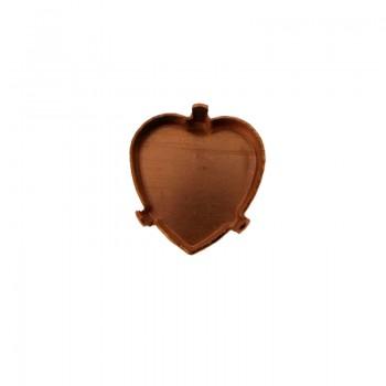 Castone tedesco a cuore mm 10x10 c/griffe in ottone grezzo